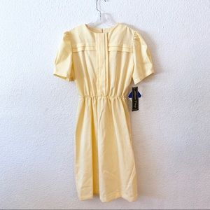 Vintage 80s Secretary Preppy Midi Dress Yellow S
